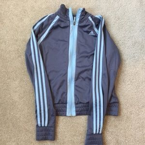 ADIDAS gray and baby blue athletic jacket